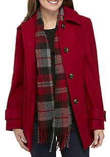 Button-Front Wool Coat with Plaid Scarf