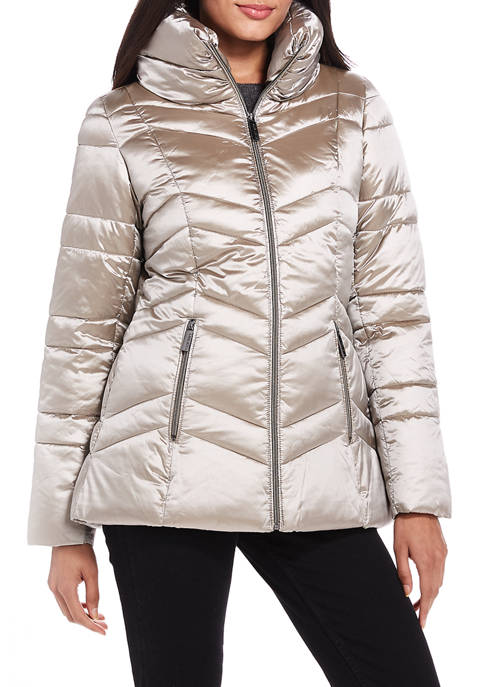 Ellen Tracy Womens Chevron Quilted Puffer Jacket