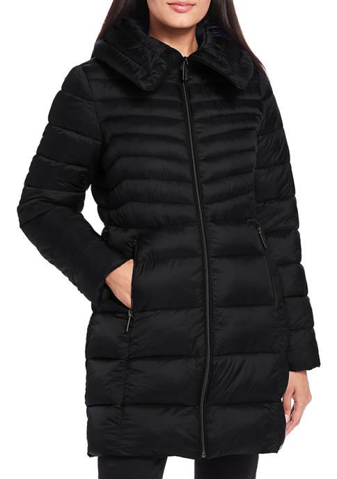 Ellen Tracy Womens Long Chevron Puffer Jacket
