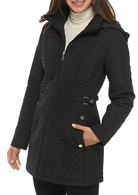 Gallery Mid Length Quilted Coat with Hood