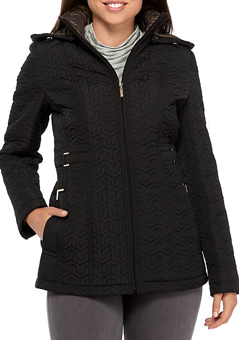 Gallery Zip Front Hooded Quilted Jacket