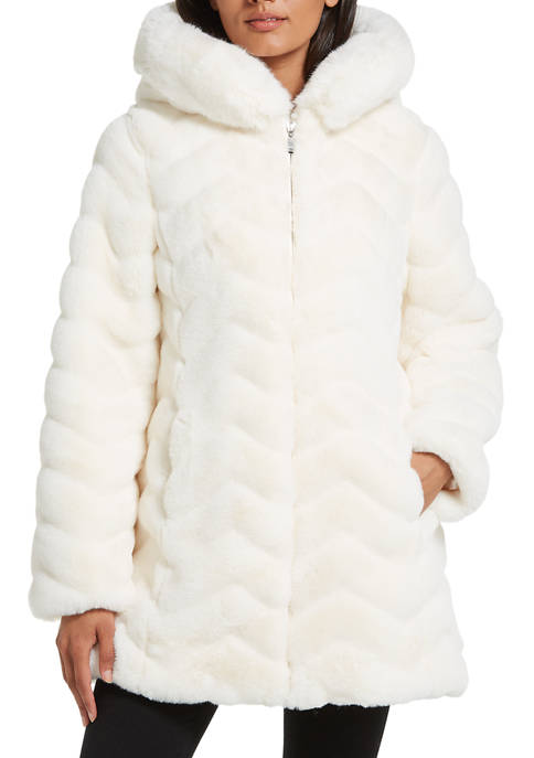 Gallery Womens Hooded Faux Fur Jacket