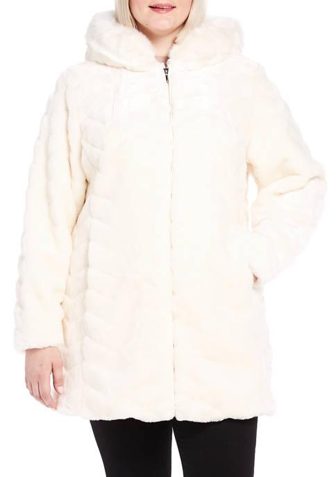 Gallery Plus Size Hooded Faux Fur Jacket