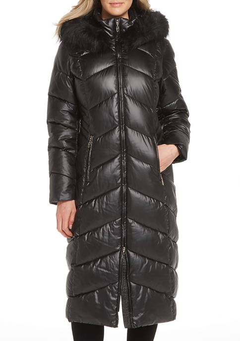Gallery Womens Puffer Jacket with Faux Fur Trimmed
