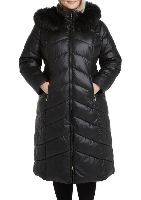 Plus Size Puffer Jacket with Faux Fur Hood