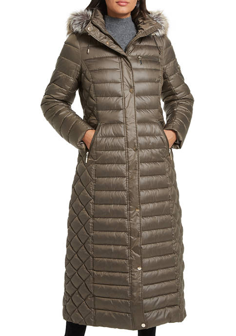 Gallery Womens Long Puffer Jacket with Faux Fur