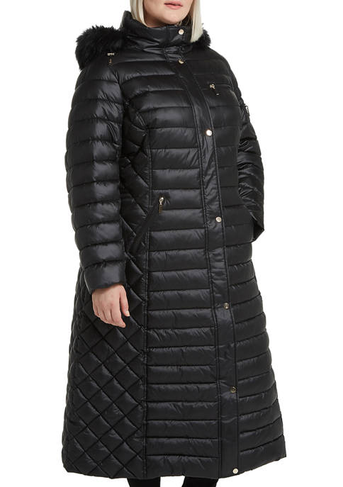 Gallery Plus Size Long Puffer Jacket with Faux