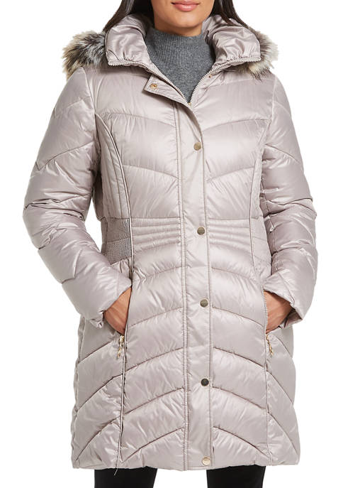 Womens Puffer Jacket with Faux Fur Hood Strip