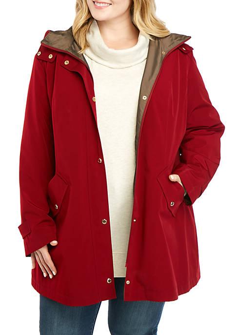 Plus Size Front Hooded Rain Jacket