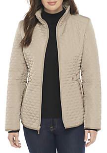 Short Quilt Coat with Exposed Zip-Front