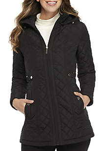 Long Hooded Quilt with Zip Front Jacket