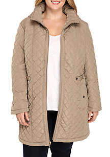 Plus Size Hooded Quilt Jacket