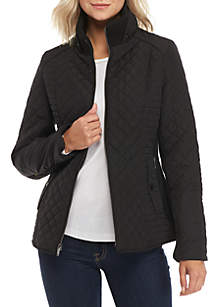 Zip Front Knit Collar Quilted Jacket