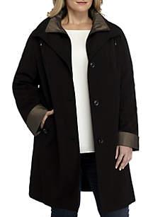 Plus Size Single Breasted Zip Front Rain Jacket