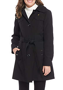 Button Front Tie Waist Trench Coat