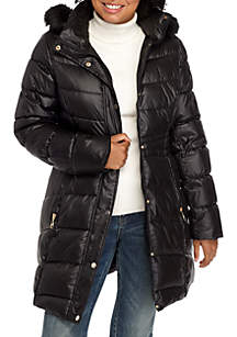 Quilted Jacket with Waist Detail and Fur Hood