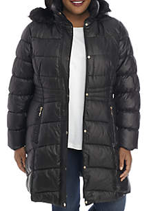 Plus Size Quilted Coat With Waist Detail And Fur Hood