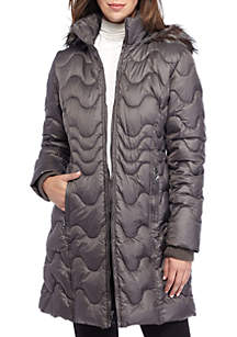 Quilted Jacket with Faux Fur Hood
