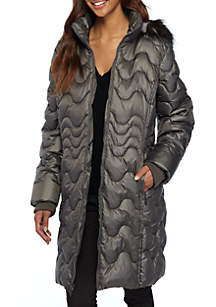 Quilted Coat with Fur Hood