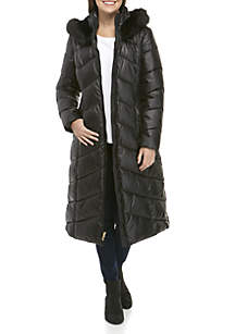 Quilted Jacket with Fur Lining with Detailed Fur Hood