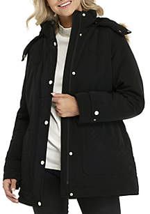 Hooded Faux Fur Trim Coat