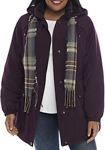Plus Size Hooded Anorak Jacket With Scarf