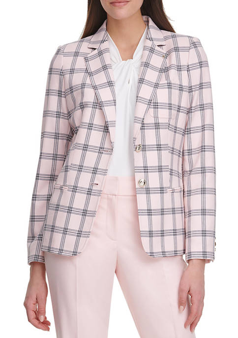 Womens Plaid One Button Jacket