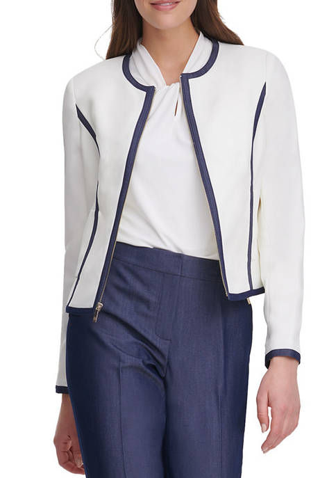 Womens Piped Zip Front Jacket