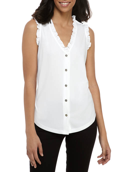 Womens Ruffle Trim V-Neck Button Blouse