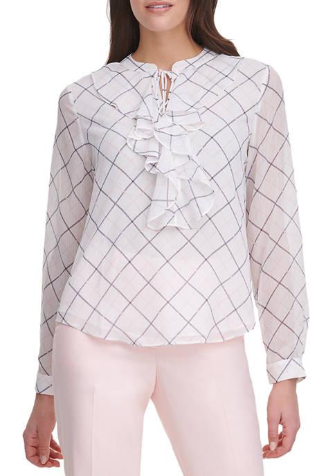 Womens Windowpane Ruffle Long Sleeve Blouse
