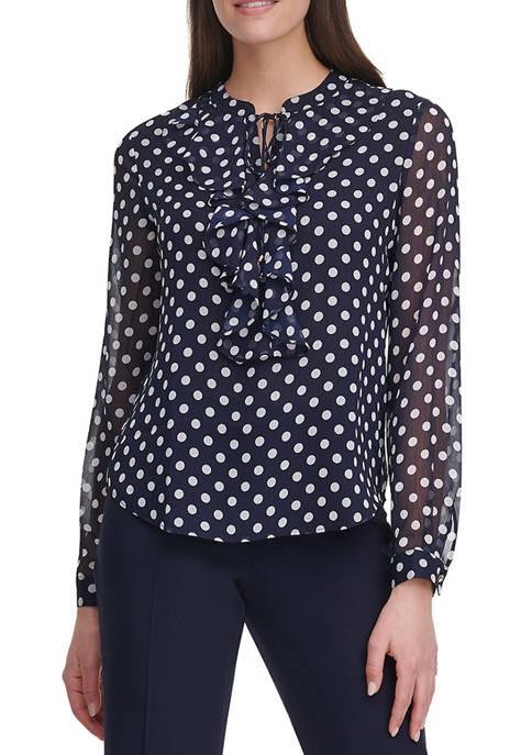 Womens Dot Ruffle Long Sleeve Blouse