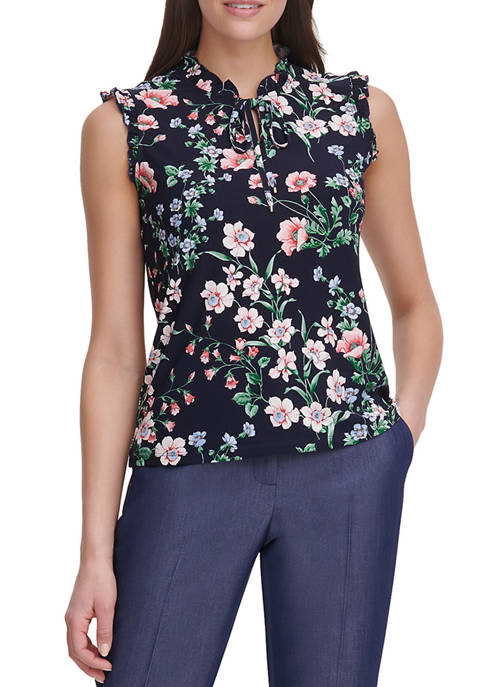 Womens Floral Sleeveless Knit Top