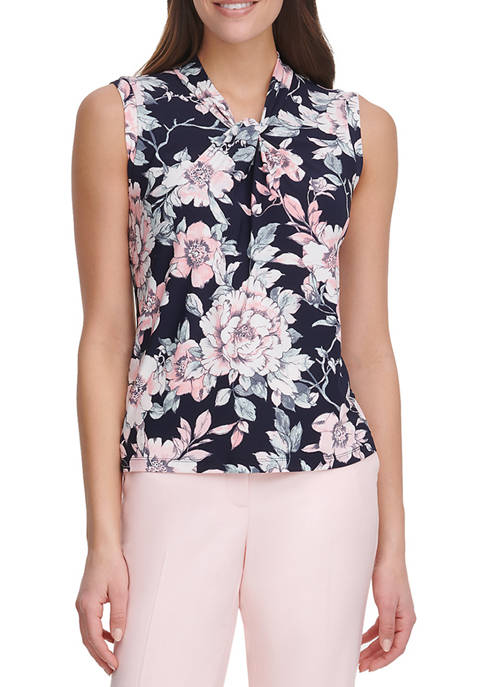 Womens Floral Sleeveless Knot Neck Knit Top