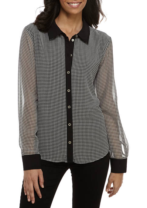 Womens Gingham Contrast Collared Shirt