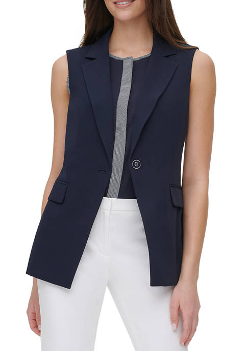 Womens One Button Piped Sleeveless Jacket