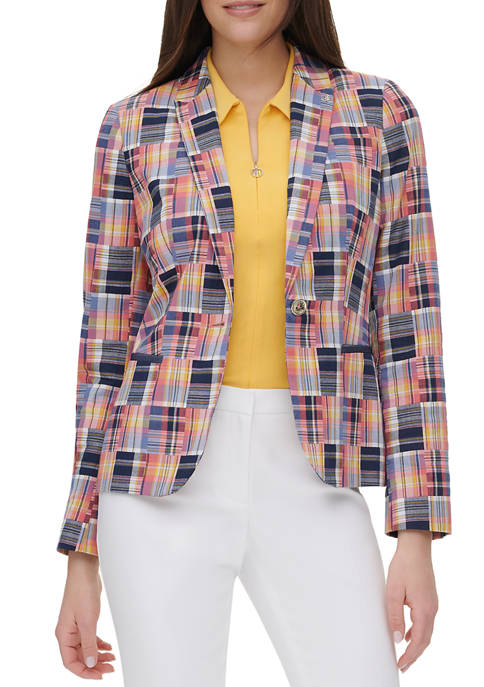 Womens Multi Madras Plaid Jacket
