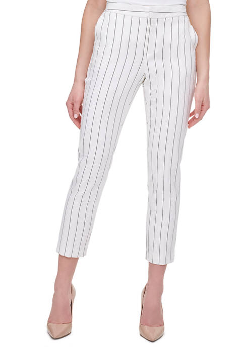 Womens Pinstripe Linen Trousers