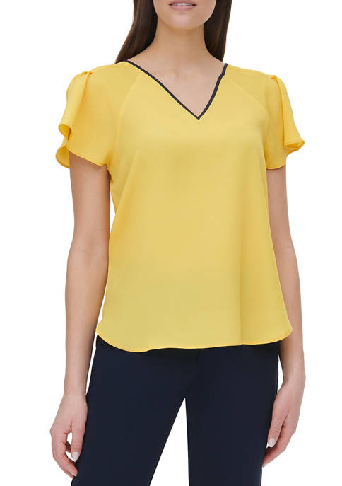 Womens Piped Flutter Sleeve V-Neck Top