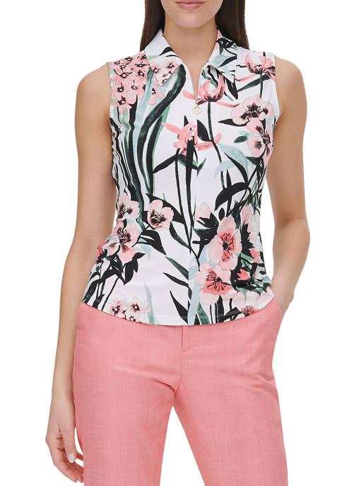 Womens Tropical Floral Sleeveless Top