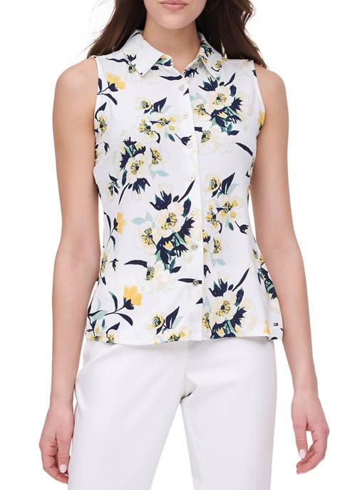 Womens Sleeveless Floral Knit Shirt