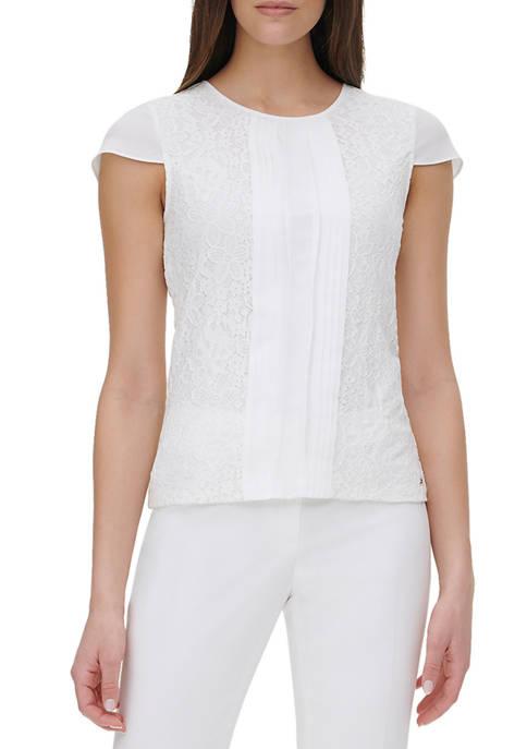 Womens Short Sleeve Lace Mix Pintuck Top