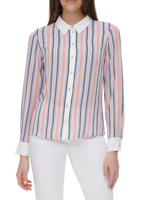 Womens Multi Stripe Contrast Collar Shirt