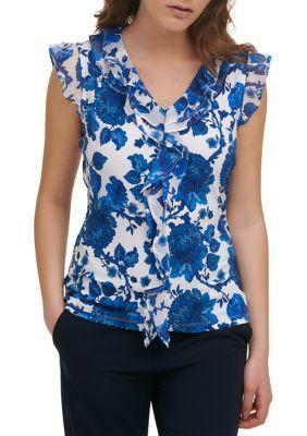 Tommy Hilfiger Womens Flutter Sleeve Floral Ruffle V-Neck Top