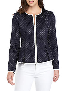 Tommy Hilfiger Polka Dot Zip Front Piped Jacket