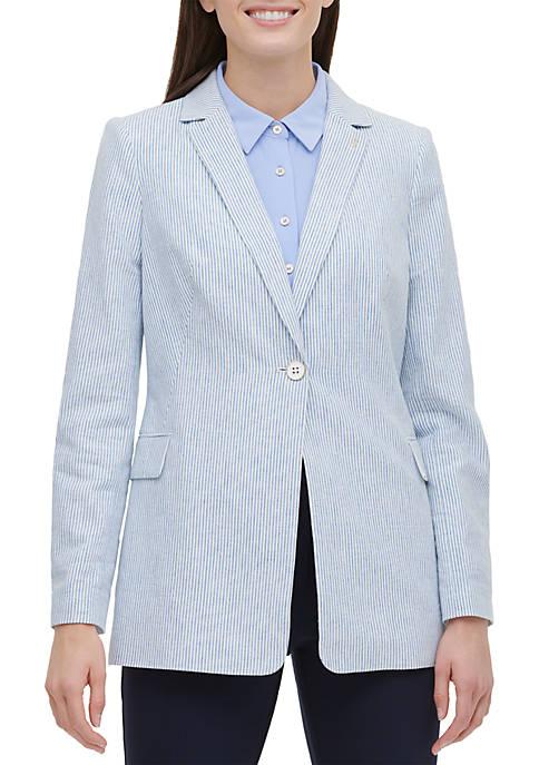 1 Button Stripe Linen Riding Jacket