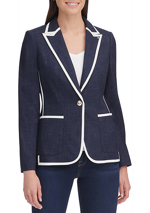 One Button Piped Stretch Novelty Jacket