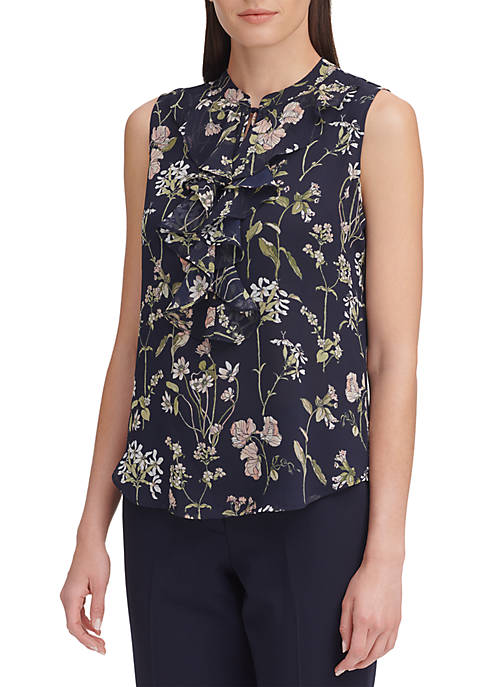 Floral Print Ruffle Front Sleeveless Woven Blouse