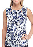 Floral Print Beaded Neck Sleeveless Knit Top