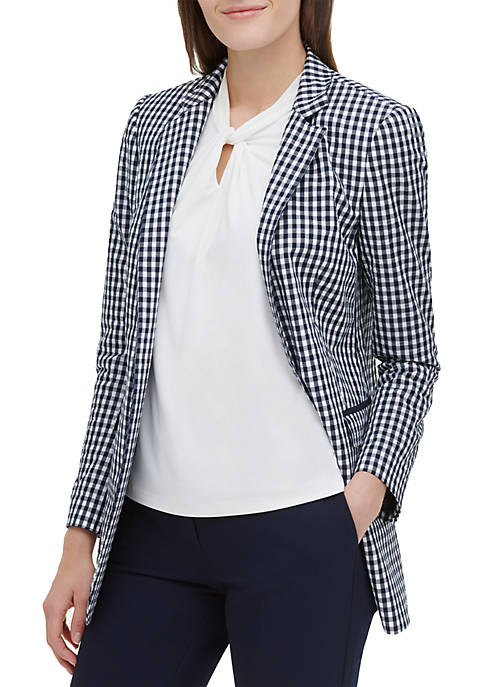 Open Gingham Unlined Jacket