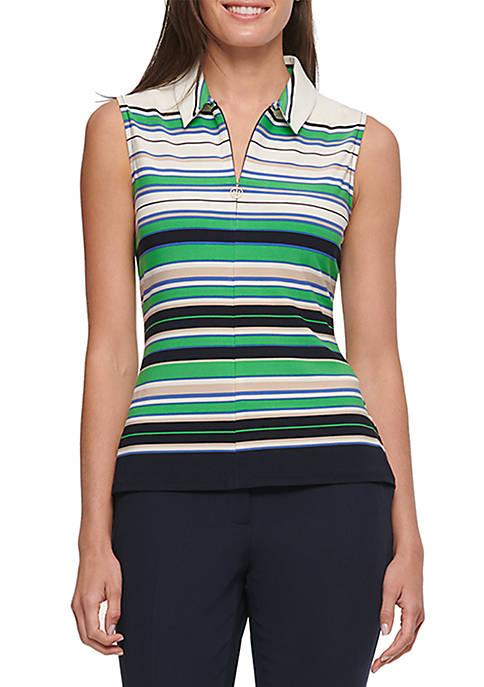 Stripe Logo Zip Knit Top